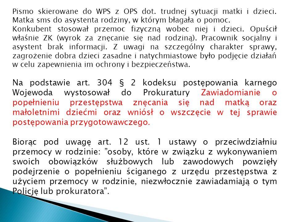 Pismo skierowane do WPS z OPS dot. trudnej sytuacji matki i dzieci.