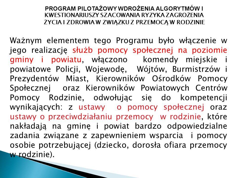 PROGRAM PILOTAŻOWY WDROŻENIA ALGORYTMÓW I KWESTIONARIUSZY SZACOWANIA RYZYKA ZAGROŻENIA ŻYCIA I ZDROWIA W ZWIĄZKU Z PRZEMOCĄ W RODZINIE Ważnym elementem tego Programu było włączenie w jego realizację służb pomocy społecznej na poziomie gminy i powiatu, włączono komendy miejskie i powiatowe Policji, Wojewodę, Wójtów, Burmistrzów i Prezydentów Miast, Kierowników Ośrodków Pomocy Społecznej oraz Kierowników Powiatowych Centrów Pomocy Rodzinie, odwołując się do kompetencji wynikających: z ustawy o pomocy społecznej oraz ustawy o przeciwdziałaniu przemocy w rodzinie, które nakładają na gminę i powiat bardzo odpowiedzialne zadania związane z zapewnieniem wsparcia i pomocy osobie potrzebującej (dziecko, dorosła ofiara przemocy w rodzinie).