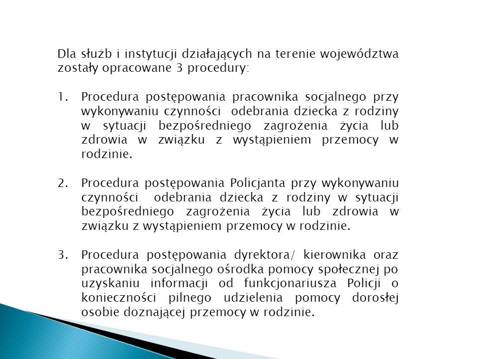 Dla służb i instytucji działających na terenie województwa zostały opracowane 3 procedury: 1.Procedura postępowania pracownika socjalnego przy wykonyw