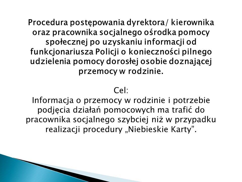 Procedura postępowania dyrektora/ kierownika oraz pracownika socjalnego ośrodka pomocy społecznej po uzyskaniu informacji od funkcjonariusza Policji o konieczności pilnego udzielenia pomocy dorosłej osobie doznającej przemocy w rodzinie.