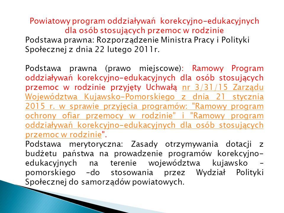 Powiatowy program oddziaływań korekcyjno-edukacyjnych dla osób stosujących przemoc w rodzinie Podstawa prawna: Rozporządzenie Ministra Pracy i Polityki Społecznej z dnia 22 lutego 2011r.