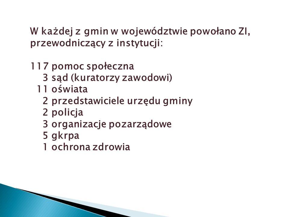 W każdej z gmin w województwie powołano ZI, przewodniczący z instytucji: 117 pomoc społeczna 3 sąd (kuratorzy zawodowi) 11 oświata 2 przedstawiciele urzędu gminy 2 policja 3 organizacje pozarządowe 5 gkrpa 1 ochrona zdrowia