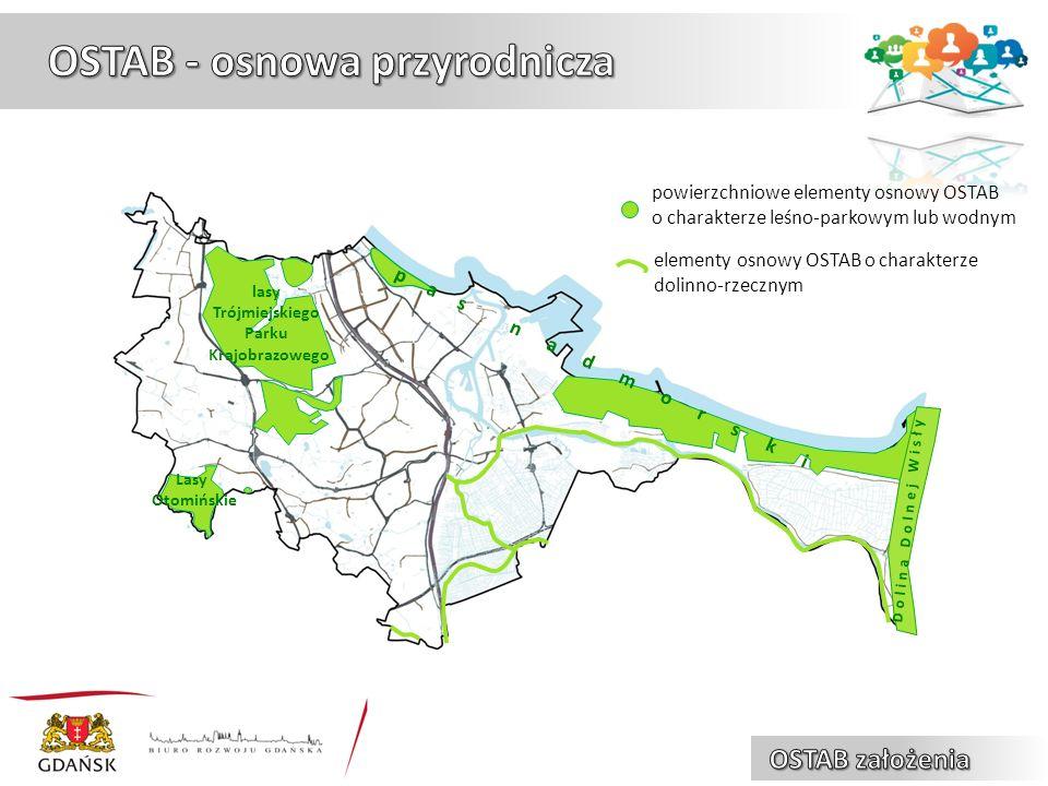 powierzchniowe elementy osnowy OSTAB o charakterze leśno-parkowym lub wodnym elementy osnowy OSTAB o charakterze dolinno-rzecznym lasy Trójmiejskiego Parku Krajobrazowego pas nadmorski Lasy Otomińskie Dolina Dolnej Wisły