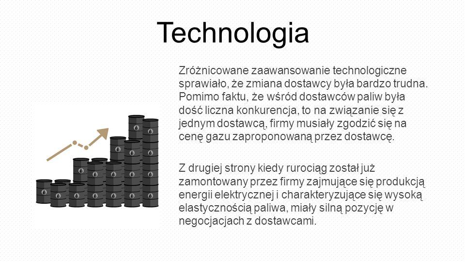Technologia Zróżnicowane zaawansowanie technologiczne sprawiało, że zmiana dostawcy była bardzo trudna. Pomimo faktu, że wśród dostawców paliw była do
