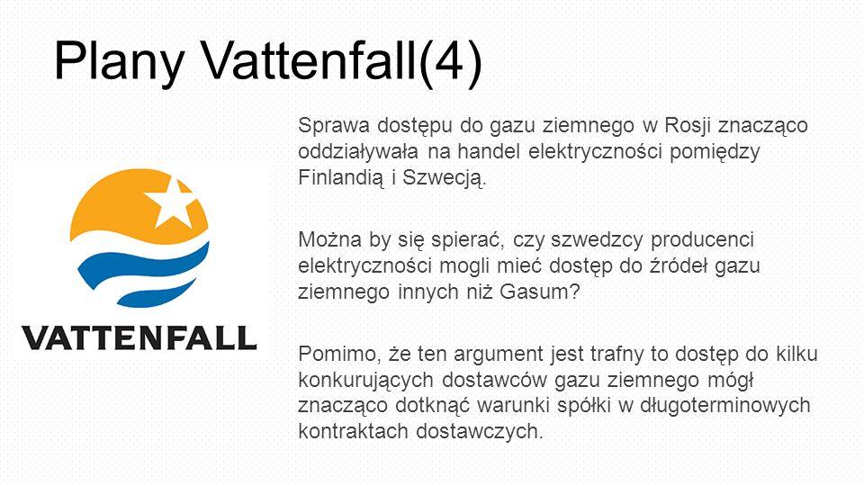 Plany Vattenfall(4) Sprawa dostępu do gazu ziemnego w Rosji znacząco oddziaływała na handel elektryczności pomiędzy Finlandią i Szwecją. Można by się