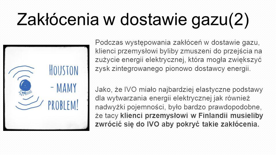 Zakłócenia w dostawie gazu(2) Podczas występowania zakłóceń w dostawie gazu, klienci przemysłowi byliby zmuszeni do przejścia na zużycie energii elektrycznej, która mogła zwiększyć zysk zintegrowanego pionowo dostawcy energii.