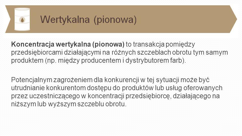 Koncentracja wertykalna (pionowa) to transakcja pomiędzy przedsiębiorcami działającymi na różnych szczeblach obrotu tym samym produktem (np.