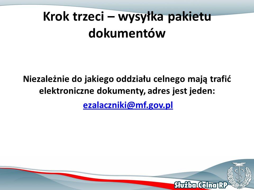 Krok trzeci – wysyłka pakietu dokumentów Niezależnie do jakiego oddziału celnego mają trafić elektroniczne dokumenty, adres jest jeden: ezalaczniki@mf.gov.pl
