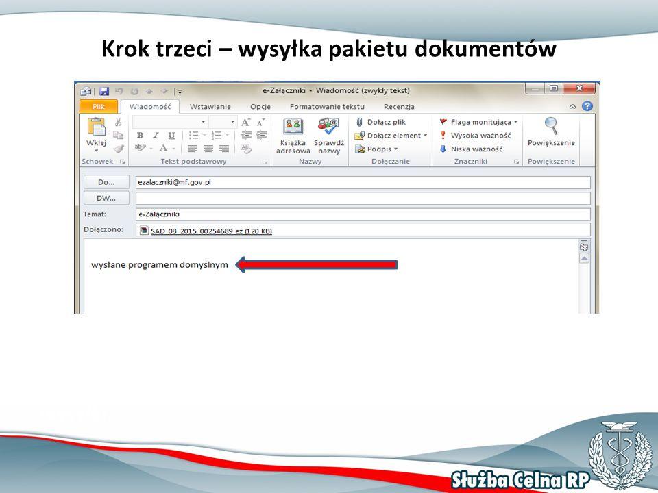Krok trzeci – wysyłka pakietu dokumentów Jeżeli zdecydowaliśmy o wysyłce z poziomu aplikacji, to program automatycznie przygotuje wiadomość gotową do wysyłki.