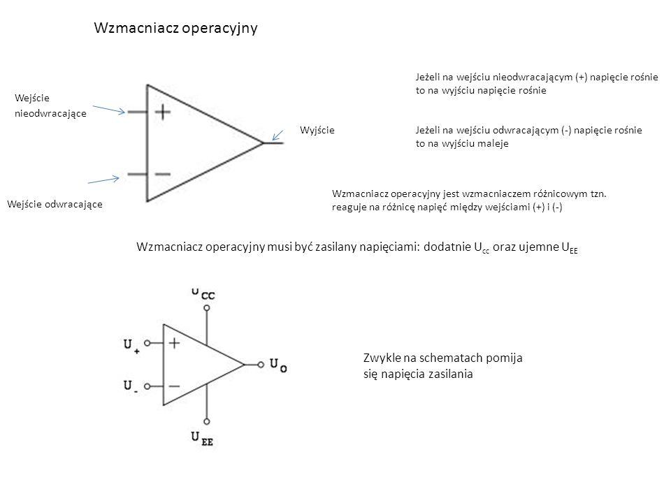 Wzmacniacz operacyjny Wejście nieodwracające Wejście odwracające Wyjście Jeżeli na wejściu nieodwracającym (+) napięcie rośnie to na wyjściu napięcie