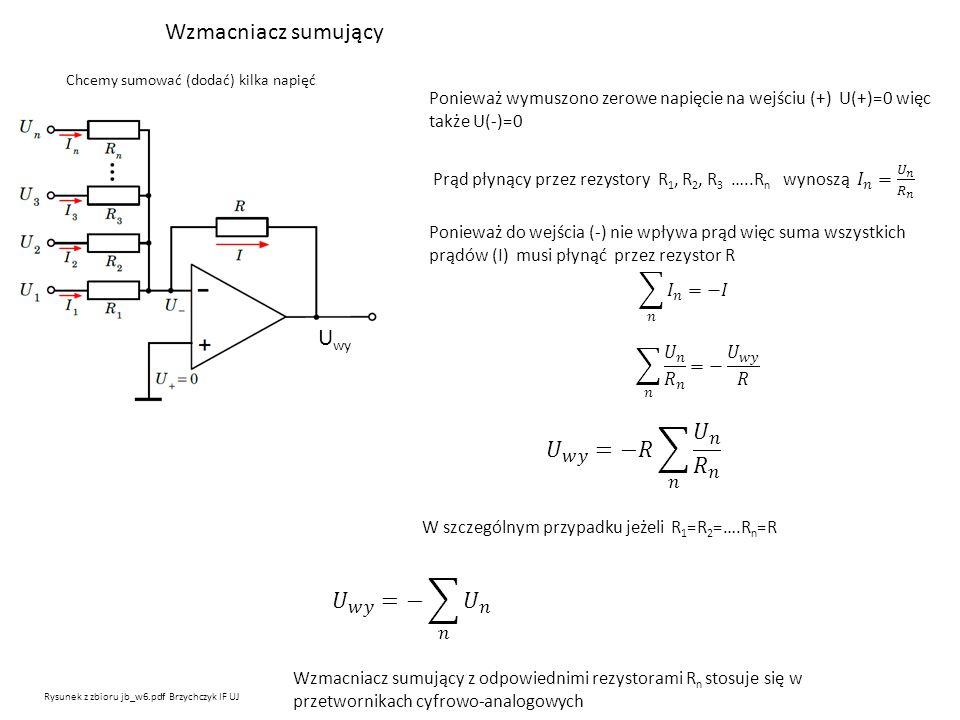 Wzmacniacz sumujący Chcemy sumować (dodać) kilka napięć Rysunek z zbioru jb_w6.pdf Brzychczyk IF UJ Ponieważ wymuszono zerowe napięcie na wejściu (+)