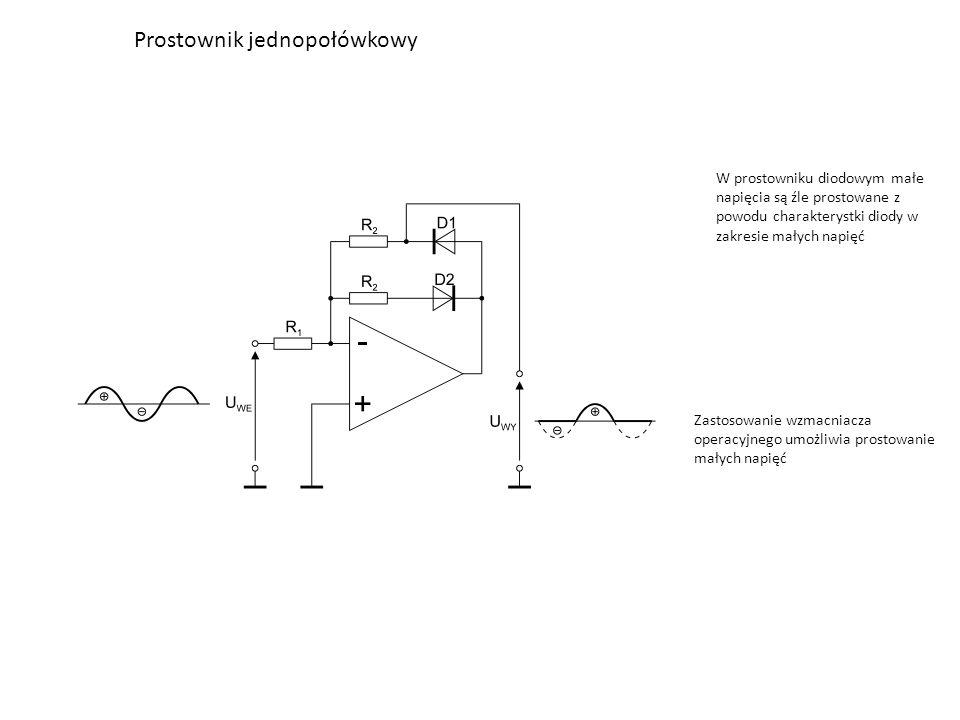 Prostownik jednopołówkowy W prostowniku diodowym małe napięcia są źle prostowane z powodu charakterystki diody w zakresie małych napięć Zastosowanie w