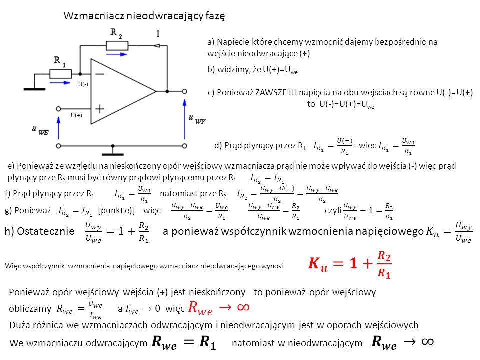 Wzmacniacz nieodwracający fazę U(-) U(+) a) Napięcie które chcemy wzmocnić dajemy bezpośrednio na wejście nieodwracające (+) b) widzimy, że U(+)=U we