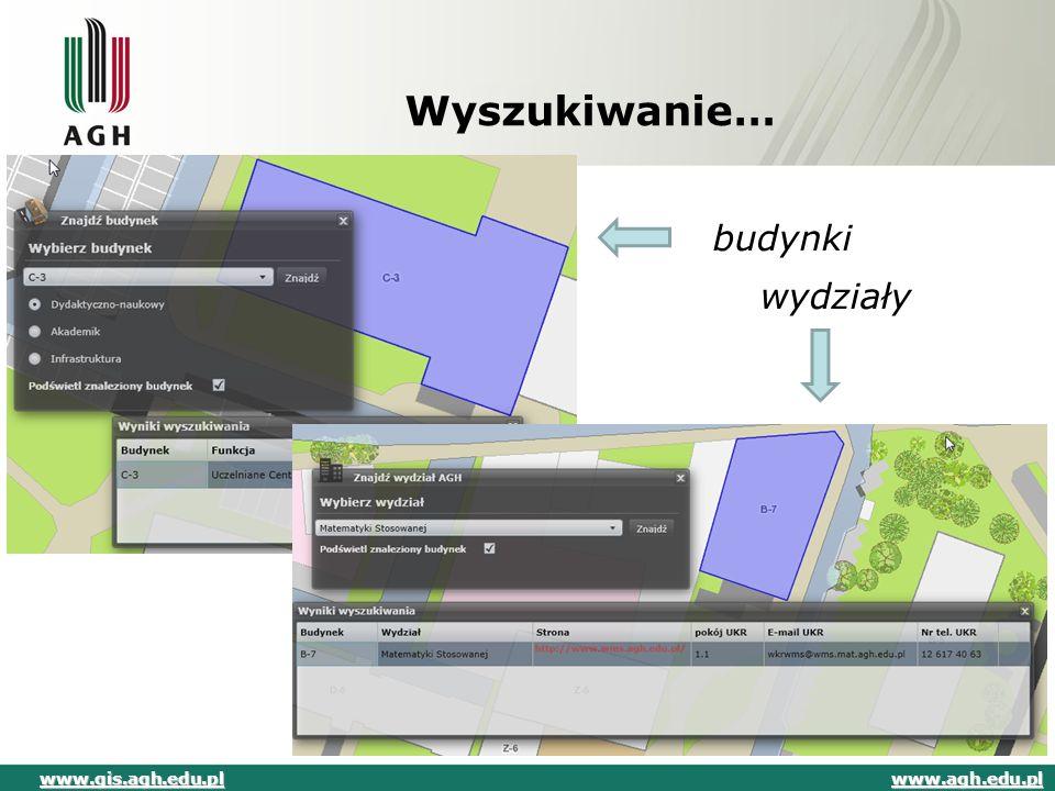 Wyszukiwanie… budynki wydziały www.agh.edu.pl www.gis.agh.edu.pl