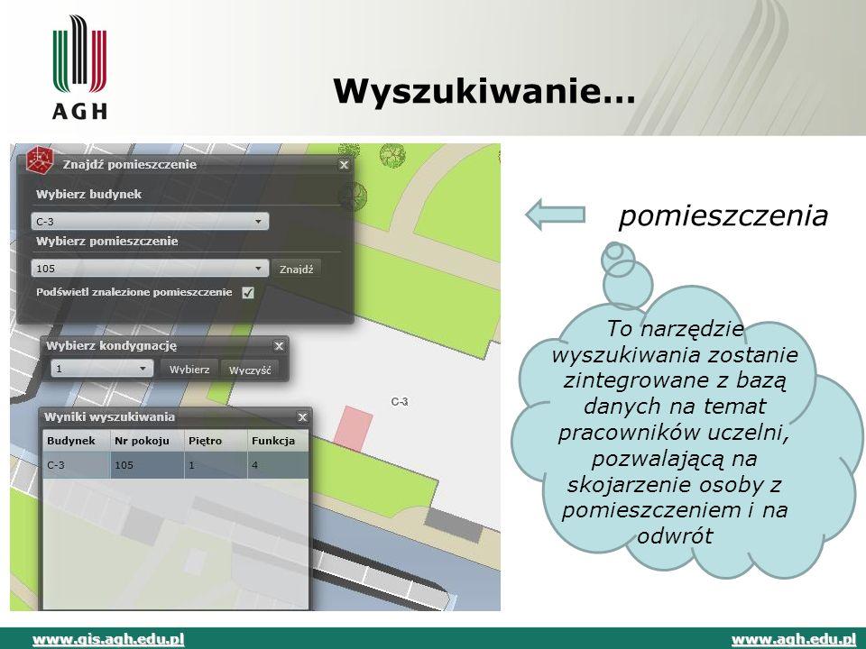 Wyszukiwanie… pomieszczenia To narzędzie wyszukiwania zostanie zintegrowane z bazą danych na temat pracowników uczelni, pozwalającą na skojarzenie oso