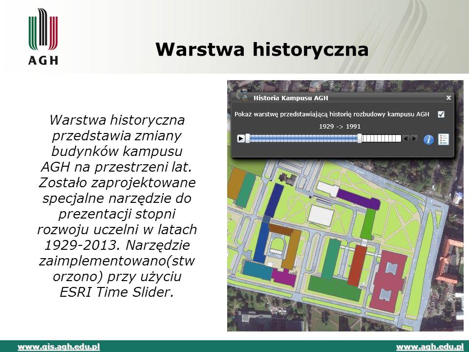 Warstwa historyczna Warstwa historyczna przedstawia zmiany budynków kampusu AGH na przestrzeni lat. Zostało zaprojektowane specjalne narzędzie do prez