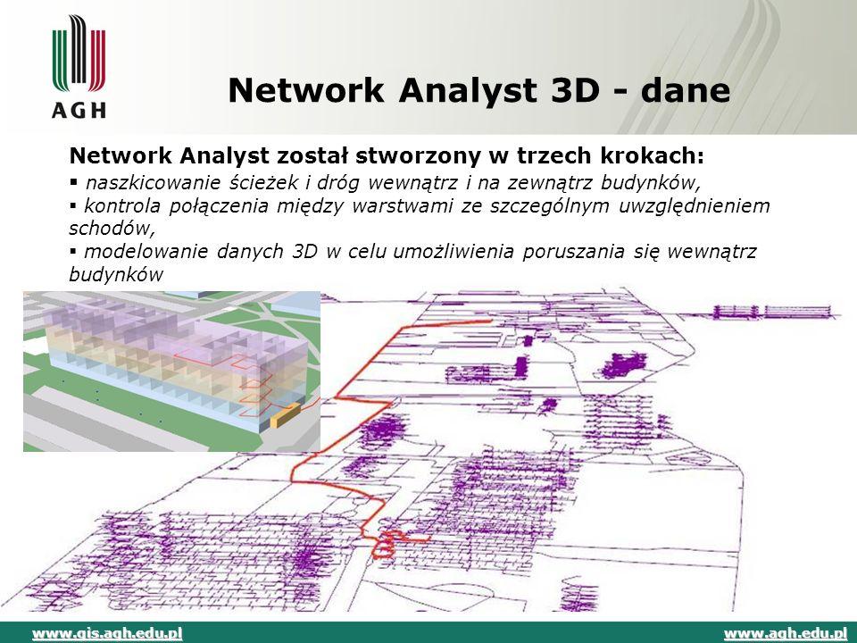 Network Analyst 3D - dane Network Analyst został stworzony w trzech krokach:  naszkicowanie ścieżek i dróg wewnątrz i na zewnątrz budynków,  kontrol