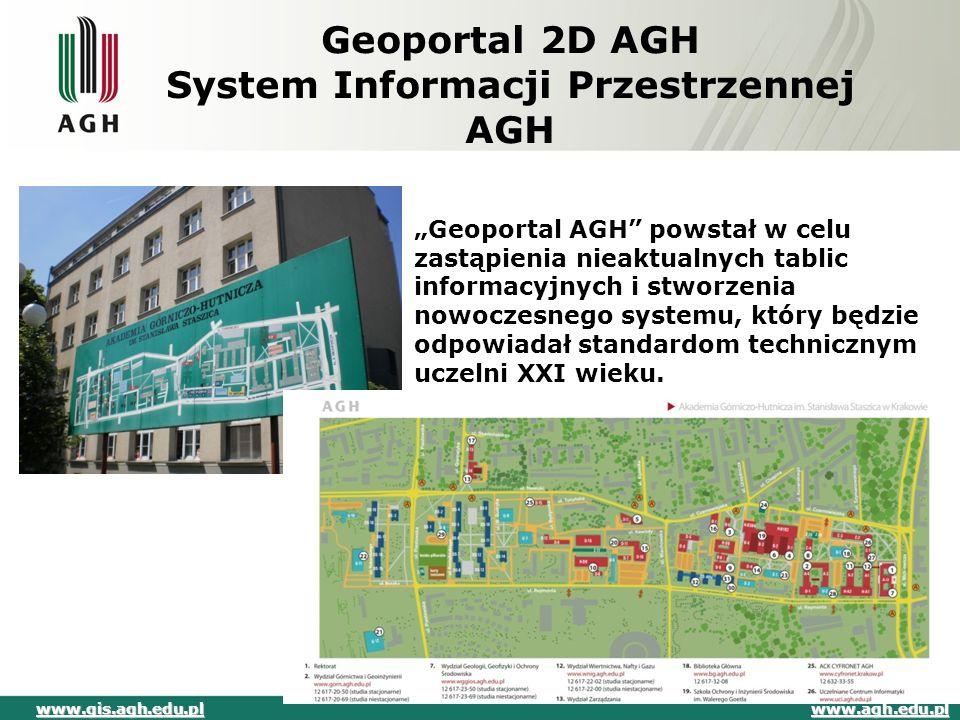 Geoportal AGH System Informacji Przestrzennej AGH Główne założenia systemu:  interaktywna prezentacja danych na temat AGH,  narzędzia wyszukiwania budynków, pomieszczeń oraz dróg dojścia  Możliwość pracy w sieci i na mobilnych platformach.