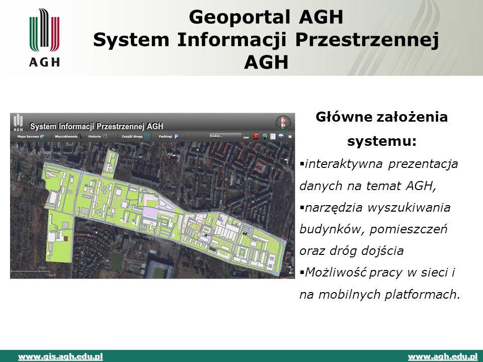 Geoportal AGH System Informacji Przestrzennej AGH Główne założenia systemu:  interaktywna prezentacja danych na temat AGH,  narzędzia wyszukiwania b