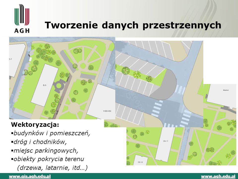 Tworzenie danych przestrzennych Wektoryzacja:  budynków i pomieszczeń,  dróg i chodników,  miejsc parkingowych,  obiekty pokrycia terenu (drzewa,