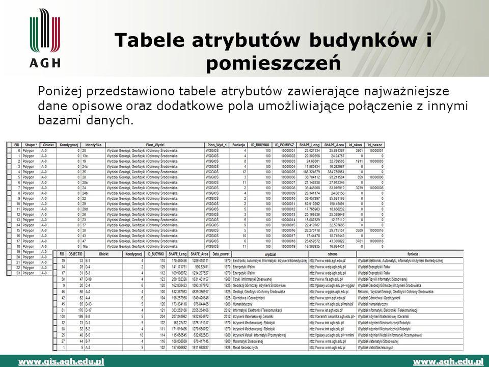 Tabele atrybutów budynków i pomieszczeń Poniżej przedstawiono tabele atrybutów zawierające najważniejsze dane opisowe oraz dodatkowe pola umożliwiając