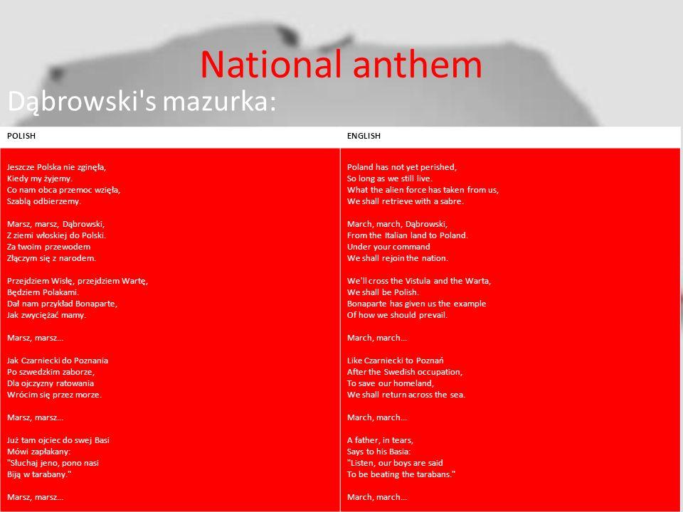 National anthem Dąbrowski s mazurka: POLISHENGLISH Jeszcze Polska nie zginęła, Kiedy my żyjemy.