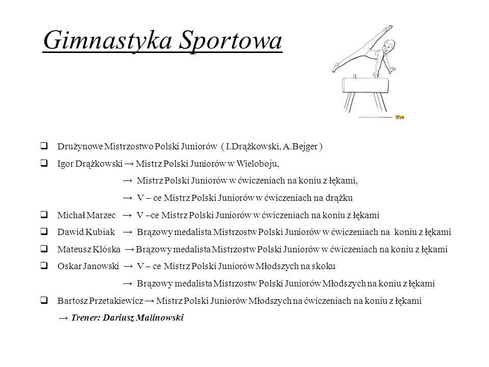 Gimnastyka Sportowa  Drużynowe Mistrzostwo Polski Juniorów ( I.Drążkowski, A.Bejger )  Igor Drążkowski → Mistrz Polski Juniorów w Wieloboju, → Mistr