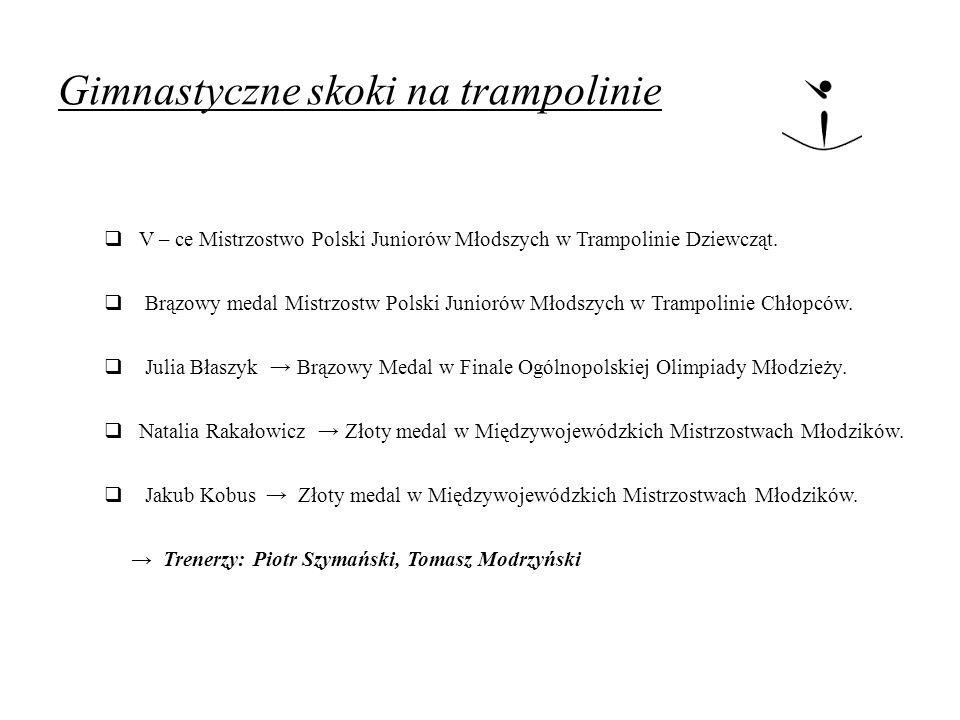 Gimnastyczne skoki na trampolinie  V – ce Mistrzostwo Polski Juniorów Młodszych w Trampolinie Dziewcząt.  Brązowy medal Mistrzostw Polski Juniorów M