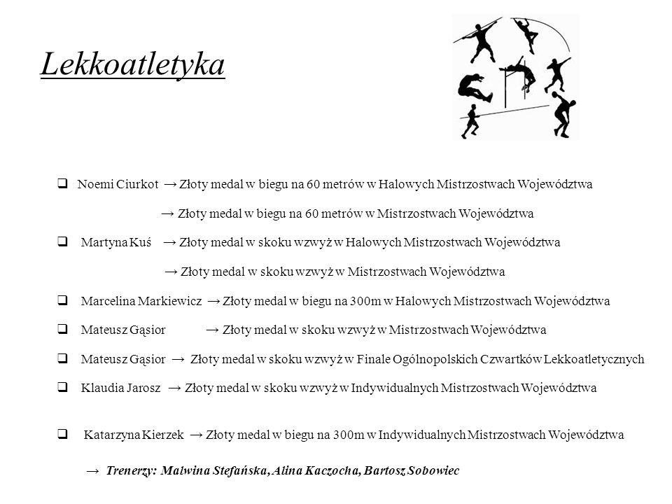 Lekkoatletyka  Noemi Ciurkot → Złoty medal w biegu na 60 metrów w Halowych Mistrzostwach Województwa → Złoty medal w biegu na 60 metrów w Mistrzostwa