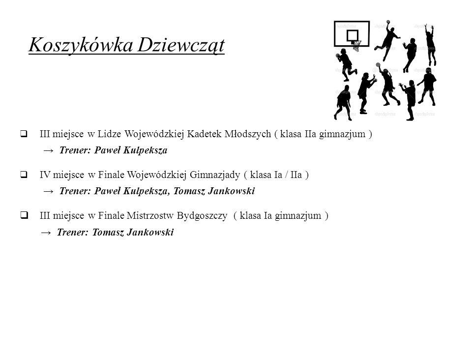 Koszykówka Dziewcząt  III miejsce w Lidze Wojewódzkiej Kadetek Młodszych ( klasa IIa gimnazjum ) → Trener: Paweł Kulpeksza  IV miejsce w Finale Woje