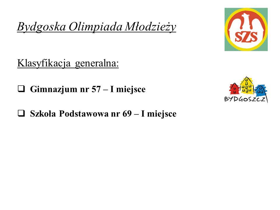 Bydgoska Olimpiada Młodzieży Klasyfikacja generalna:  Gimnazjum nr 57 – I miejsce  Szkoła Podstawowa nr 69 – I miejsce