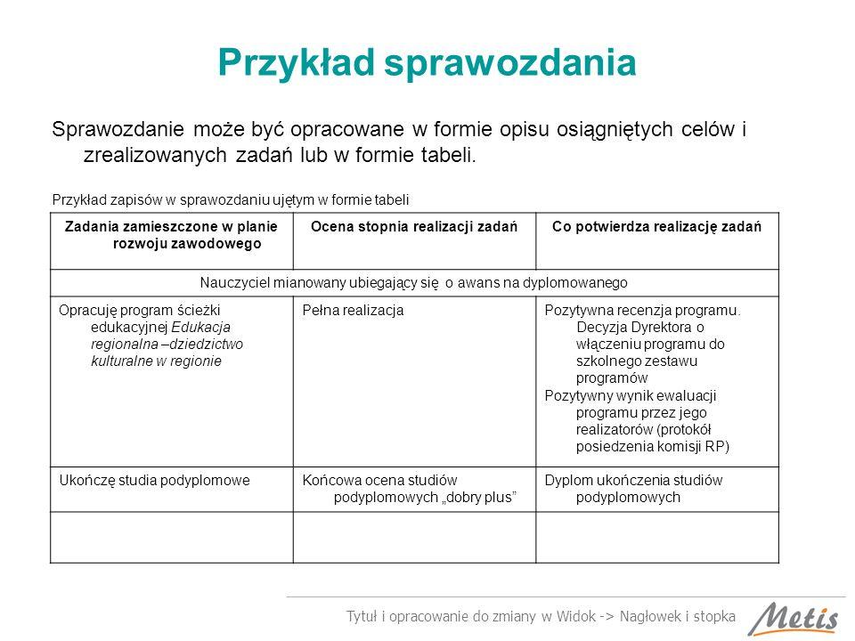 Tytuł i opracowanie do zmiany w Widok -> Nagłowek i stopka Przykład sprawozdania Sprawozdanie może być opracowane w formie opisu osiągniętych celów i