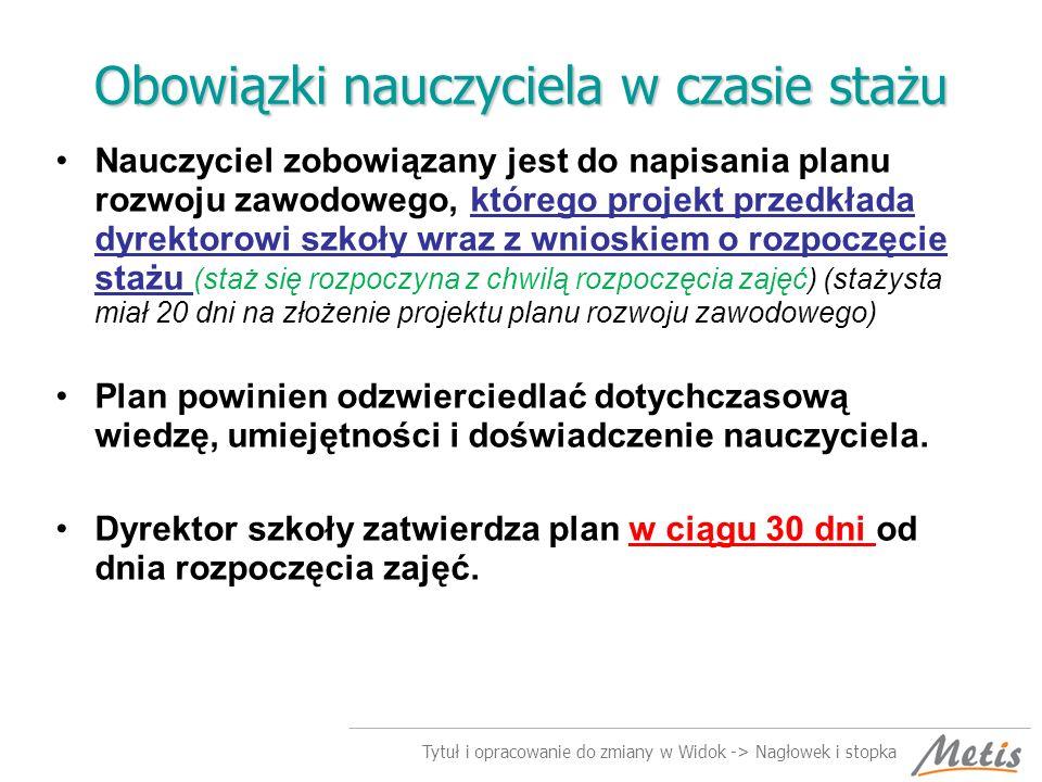 Tytuł i opracowanie do zmiany w Widok -> Nagłowek i stopka Powinności nauczyciela w trakcie stażu.
