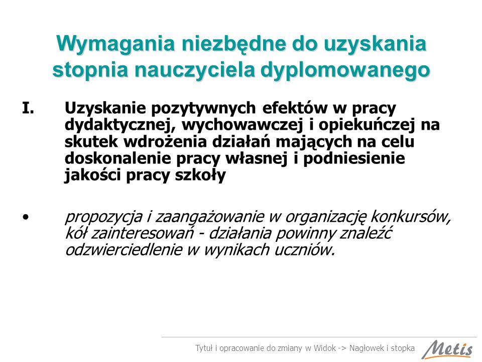 Tytuł i opracowanie do zmiany w Widok -> Nagłowek i stopka Wymagania niezbędne do uzyskania stopnia nauczyciela dyplomowanego II.