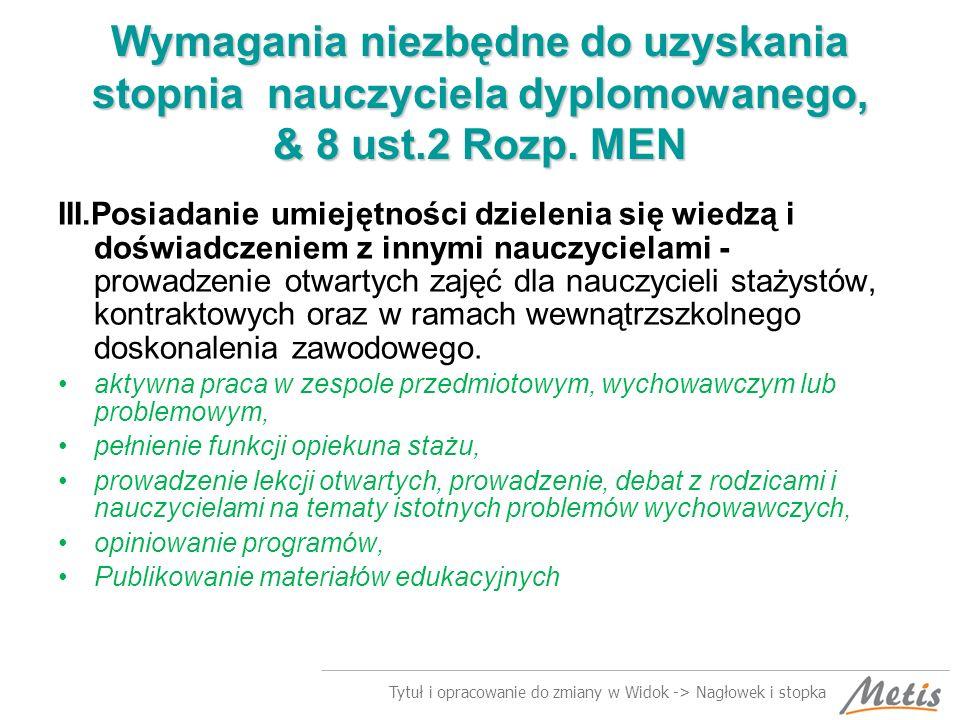 Tytuł i opracowanie do zmiany w Widok -> Nagłowek i stopka Zmiana miejsca pracy w czasie stażu.