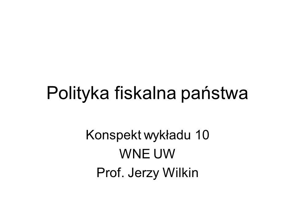 Polityka fiskalna państwa Konspekt wykładu 10 WNE UW Prof. Jerzy Wilkin