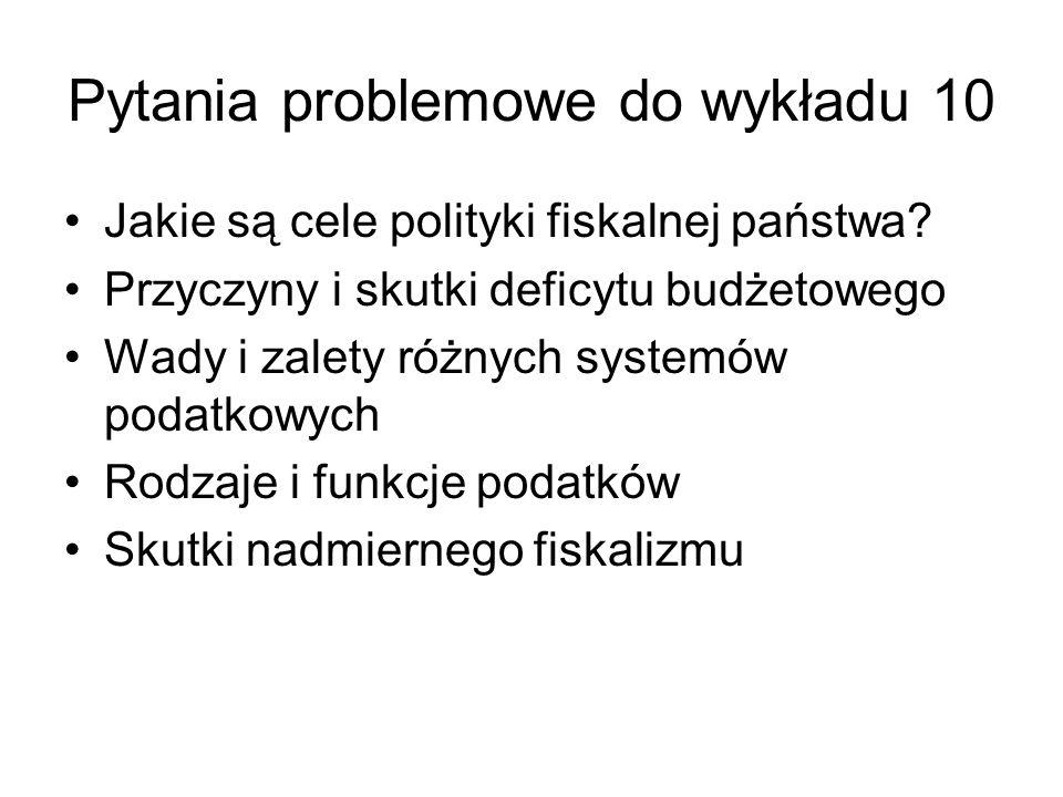 Pytania problemowe do wykładu 10 Jakie są cele polityki fiskalnej państwa.