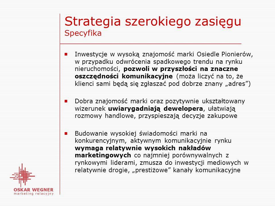 """Strategia szerokiego zasięgu Specyfika ■ Inwestycje w wysoką znajomość marki Osiedle Pionierów, w przypadku odwrócenia spadkowego trendu na rynku nieruchomości, pozwoli w przyszłości na znaczne oszczędności komunikacyjne (moża liczyć na to, że klienci sami będą się zgłaszać pod dobrze znany """"adres ) ■ Dobra znajomość marki oraz pozytywnie ukształtowany wizerunek uwiarygadniają dewelopera, ułatwiają rozmowy handlowe, przyspieszają decyzje zakupowe ■ Budowanie wysokiej świadomości marki na konkurencyjnym, aktywnym komunikacyjnie rynku wymaga relatywnie wysokich nakładów marketingowych co najmniej porównywalnych z rynkowymi liderami, zmusza do inwestycji mediowych w relatywnie drogie, """"prestiżowe kanały komunikacyjne"""
