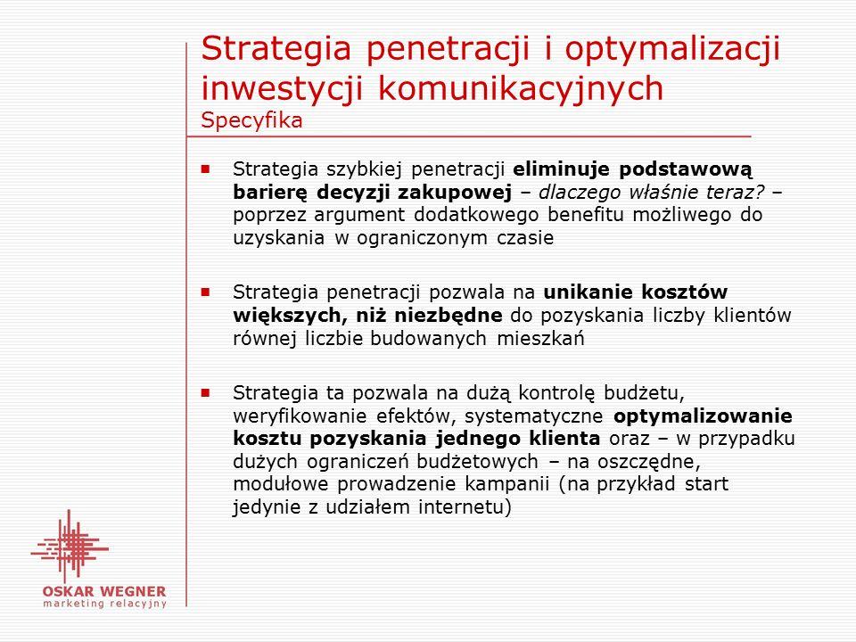 Strategia penetracji i optymalizacji inwestycji komunikacyjnych Specyfika ■ Strategia szybkiej penetracji eliminuje podstawową barierę decyzji zakupowej – dlaczego właśnie teraz.