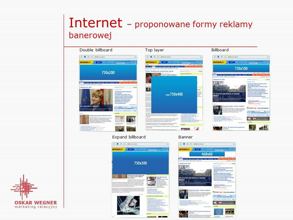 Internet – proponowane formy reklamy banerowej Double billboardTop layerBillboard Expand billboardBanner