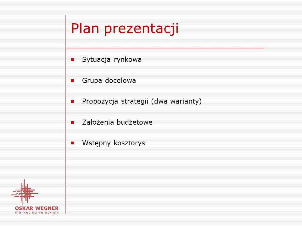 Plan prezentacji ■ Sytuacja rynkowa ■ Grupa docelowa ■ Propozycja strategii (dwa warianty) ■ Założenia budżetowe ■ Wstępny kosztorys