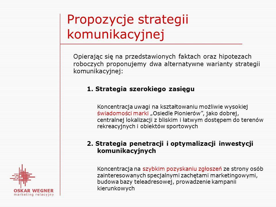 Propozycje strategii komunikacyjnej Opierając się na przedstawionych faktach oraz hipotezach roboczych proponujemy dwa alternatywne warianty strategii komunikacyjnej: 1.