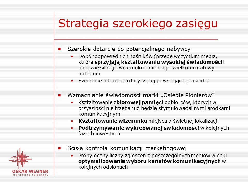 """Strategia szerokiego zasięgu ■ Szerokie dotarcie do potencjalnego nabywcy Dobór odpowiednich nośników (przede wszystkim media, ktróre sprzyjają kształtowaniu wysokiej świadomości i budowie silnego wizerunku marki, np: wielkoformatowy outdoor) Szerzenie informacji dotyczącej powstającego osiedla ■ Wzmacnianie świadomości marki """"Osiedle Pionierów Kształtowanie zbiorowej pamięci odbiorców, których w przyszłości nie trzeba już będzie stymulować silnymi środkami komunikacyjnymi Kształtowanie wizerunku miejsca o świetnej lokalizacji Podtrzymywanie wykreowanej świadomości w kolejnych fazach inwestycji ■ Ścisła kontrola komunikacji marketingowej Próby oceny liczby zgłoszeń z poszczególnych mediów w celu optymalizowania wyboru kanałów komunikacyjnych w kolejnych odsłonach"""