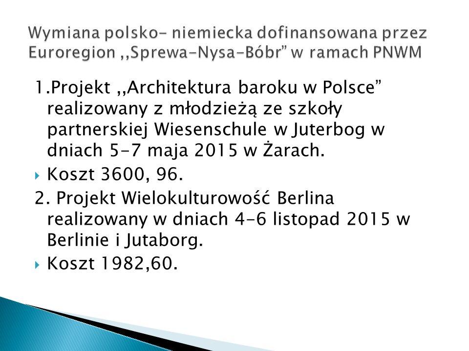 1.Projekt,,Architektura baroku w Polsce realizowany z młodzieżą ze szkoły partnerskiej Wiesenschule w Juterbog w dniach 5-7 maja 2015 w Żarach.