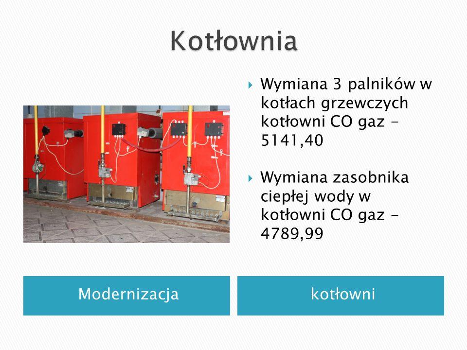 Modernizacjakotłowni  Wymiana 3 palników w kotłach grzewczych kotłowni CO gaz - 5141,40  Wymiana zasobnika ciepłej wody w kotłowni CO gaz - 4789,99