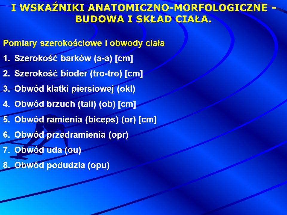 Pomiary szerokościowe i obwody ciała 1.Szerokość barków (a-a) [cm] 2.Szerokość bioder (tro-tro) [cm] 3.Obwód klatki piersiowej (okl) 4.Obwód brzuch (tali) (ob) [cm] 5.Obwód ramienia (biceps) (or) [cm] 6.Obwód przedramienia (opr) 7.Obwód uda (ou) 8.Obwód podudzia (opu) I WSKAŹNIKI ANATOMICZNO-MORFOLOGICZNE - BUDOWA I SKŁAD CIAŁA.