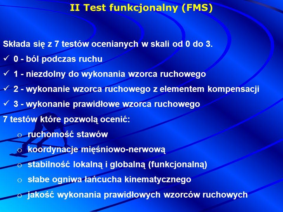 II Test funkcjonalny (FMS) Składa się z 7 testów ocenianych w skali od 0 do 3.