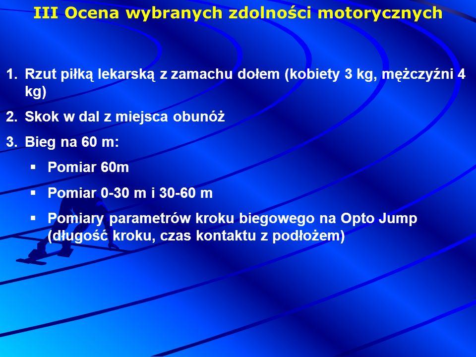 III Ocena wybranych zdolności motorycznych 1.Rzut piłką lekarską z zamachu dołem (kobiety 3 kg, mężczyźni 4 kg) 2.Skok w dal z miejsca obunóż 3.Bieg na 60 m:  Pomiar 60m  Pomiar 0-30 m i 30-60 m  Pomiary parametrów kroku biegowego na Opto Jump (długość kroku, czas kontaktu z podłożem)