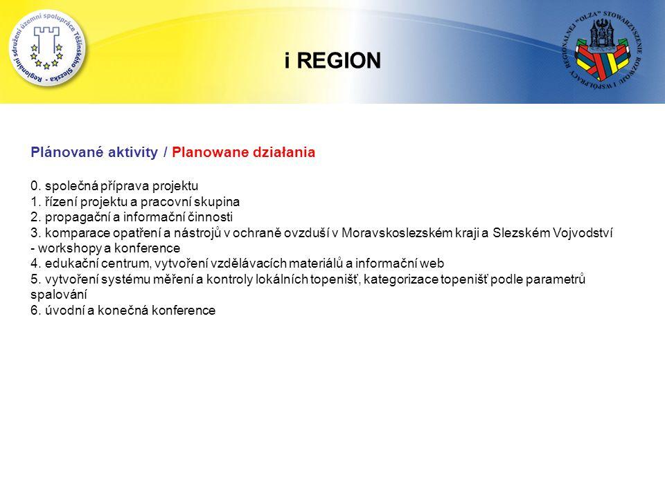 i REGION Plánované aktivity / Planowane działania 0.