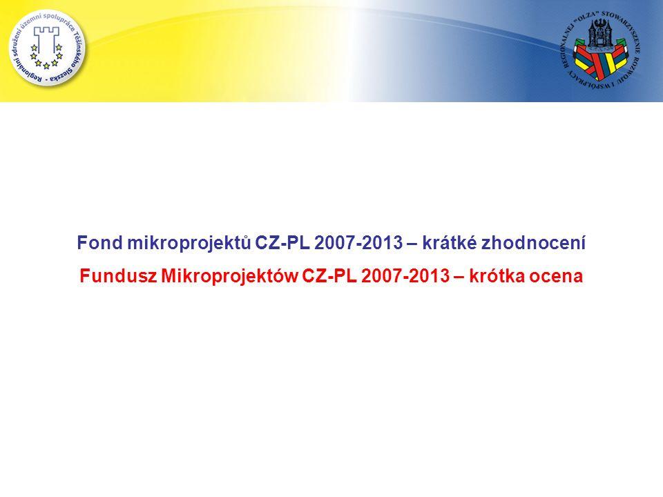 Fond mikroprojektů CZ-PL 2007-2013 – krátké zhodnocení Fundusz Mikroprojektów CZ-PL 2007-2013 – krótka ocena